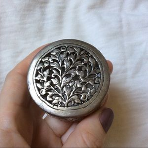Silver Jewelry Box Etched Carved Vine leaves